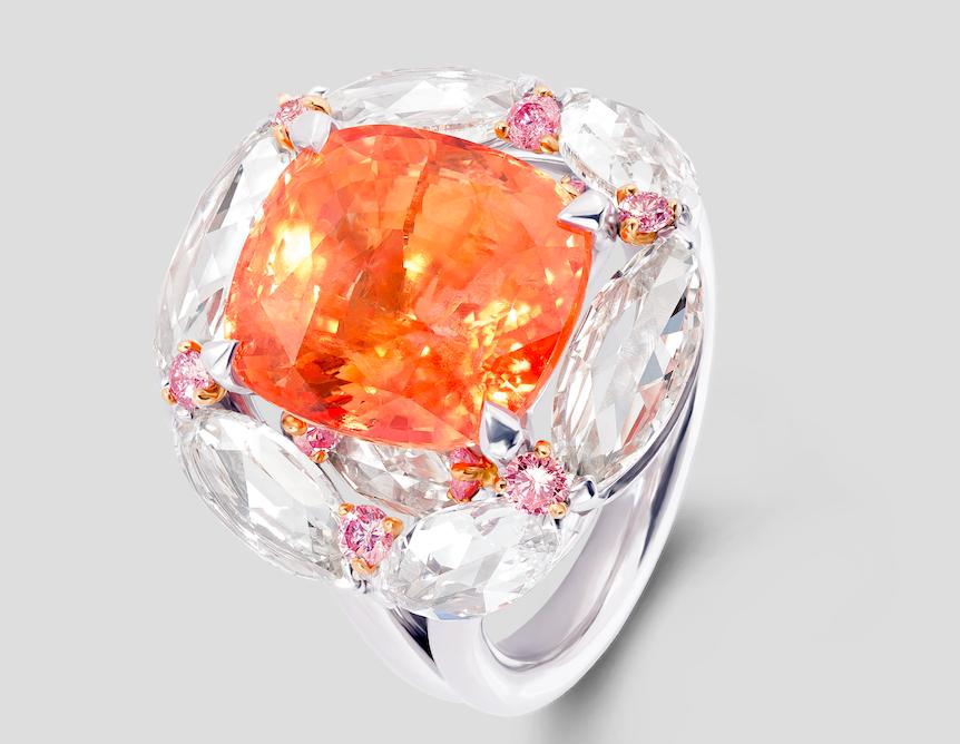 David Morris Padparadsch Diamond Ring