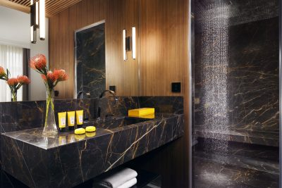 The First Roma Dolce Hotel suite - all-marble bathroom