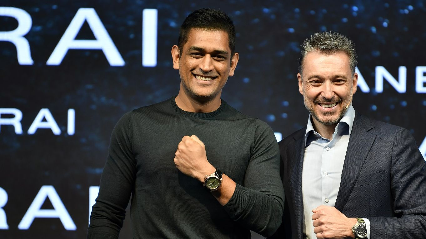 MS Dhoni wears Panerai - with CEO Jean-Marc Pontroue