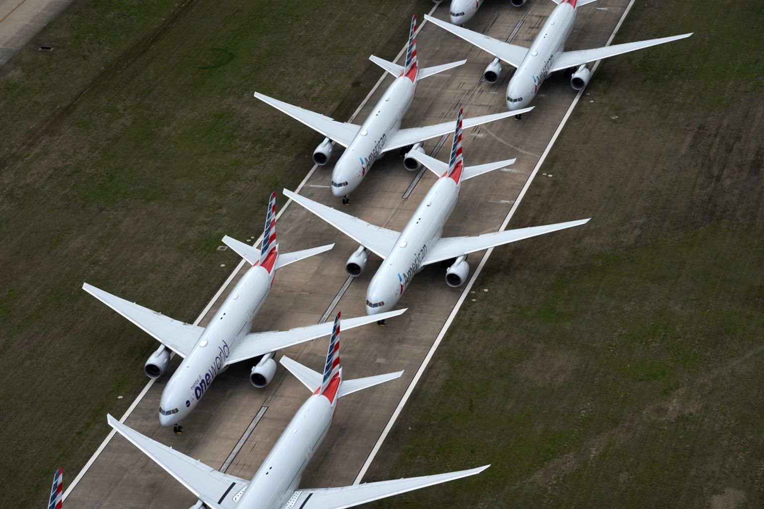 American Airlines planes parked on ground