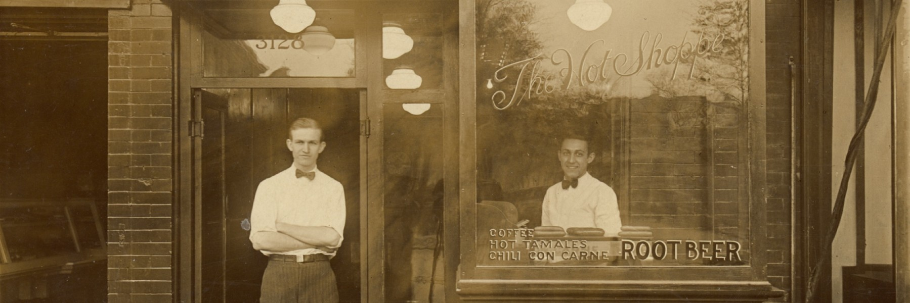 JW Marriott in front of his first Hot Shoppe 1927
