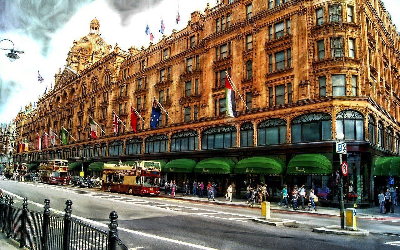Harrods store in London at Knightsbridge