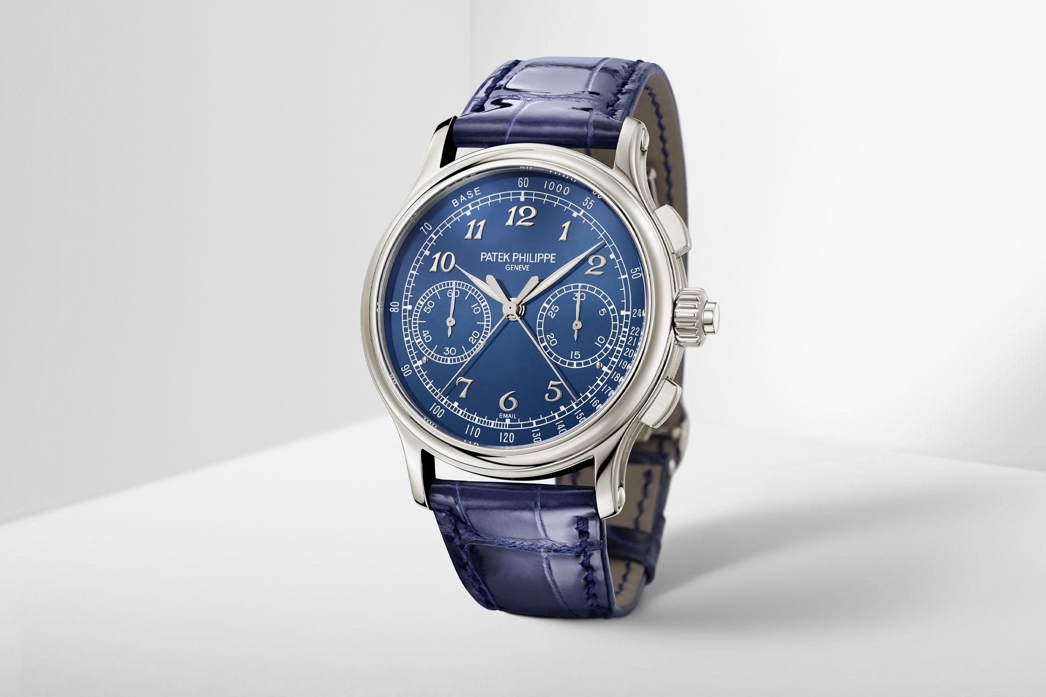 Patek Philippe NEW Ref. 5370P Split-Seconds Chronograph in platinum with blue Grand Feu enamel dial (2020)