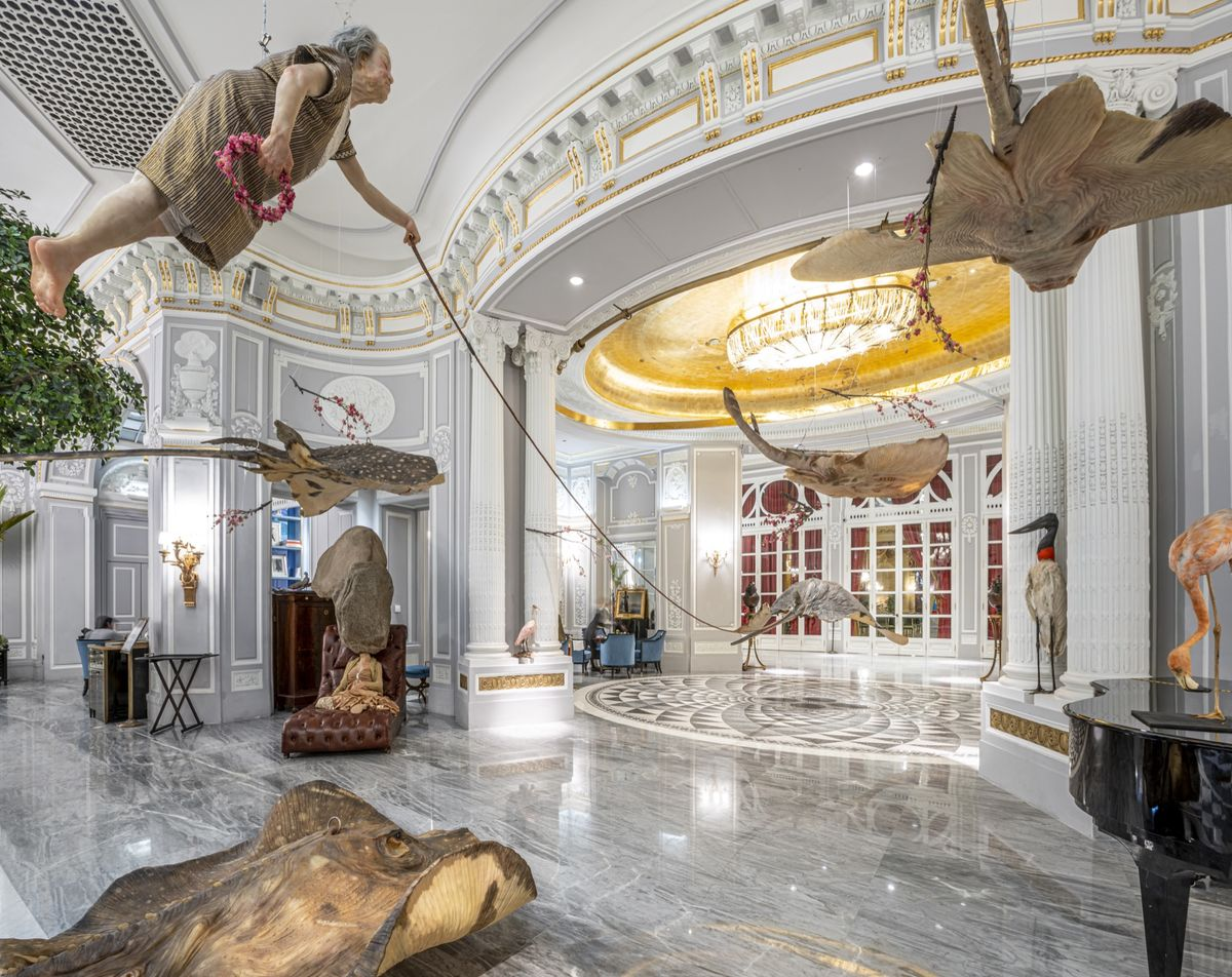 "St Regis Rome, art installation by Sun Yuan and Peng Yu, ""If I Died"""