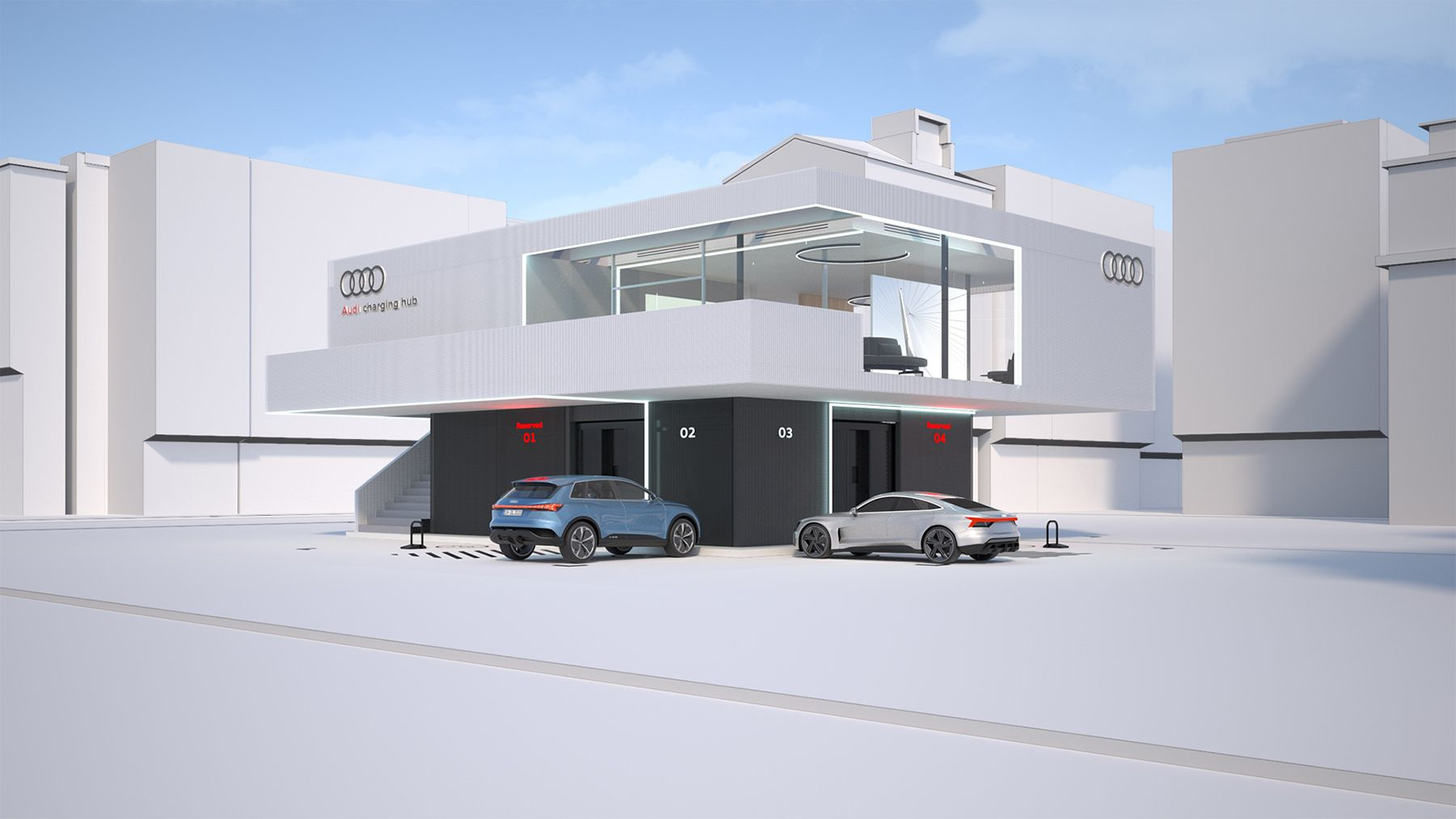 Audi new luxury Electric Vehicle charging lounges