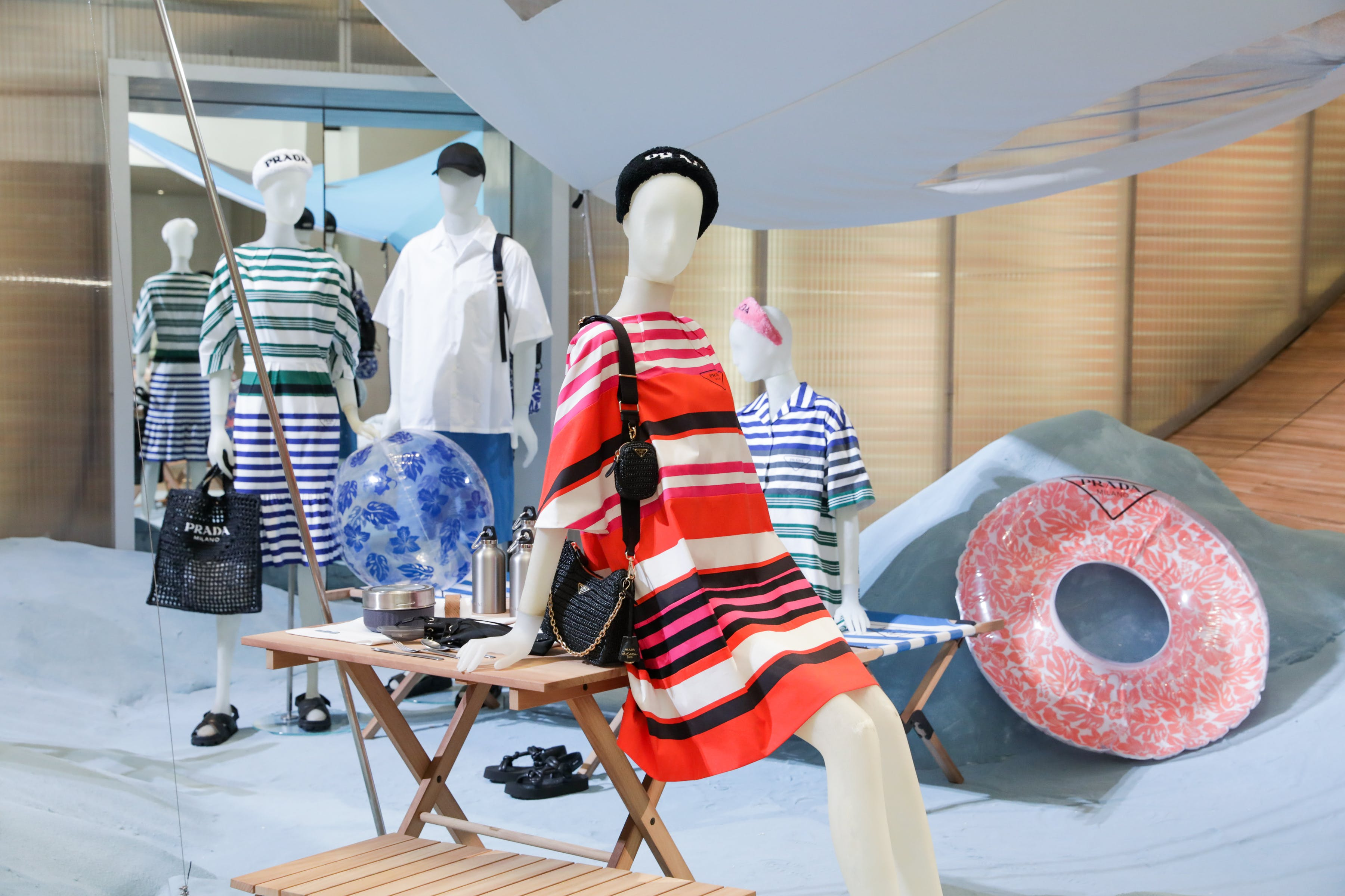 Prada 'Outdoor' pop-up at NYC store (summer - beach)