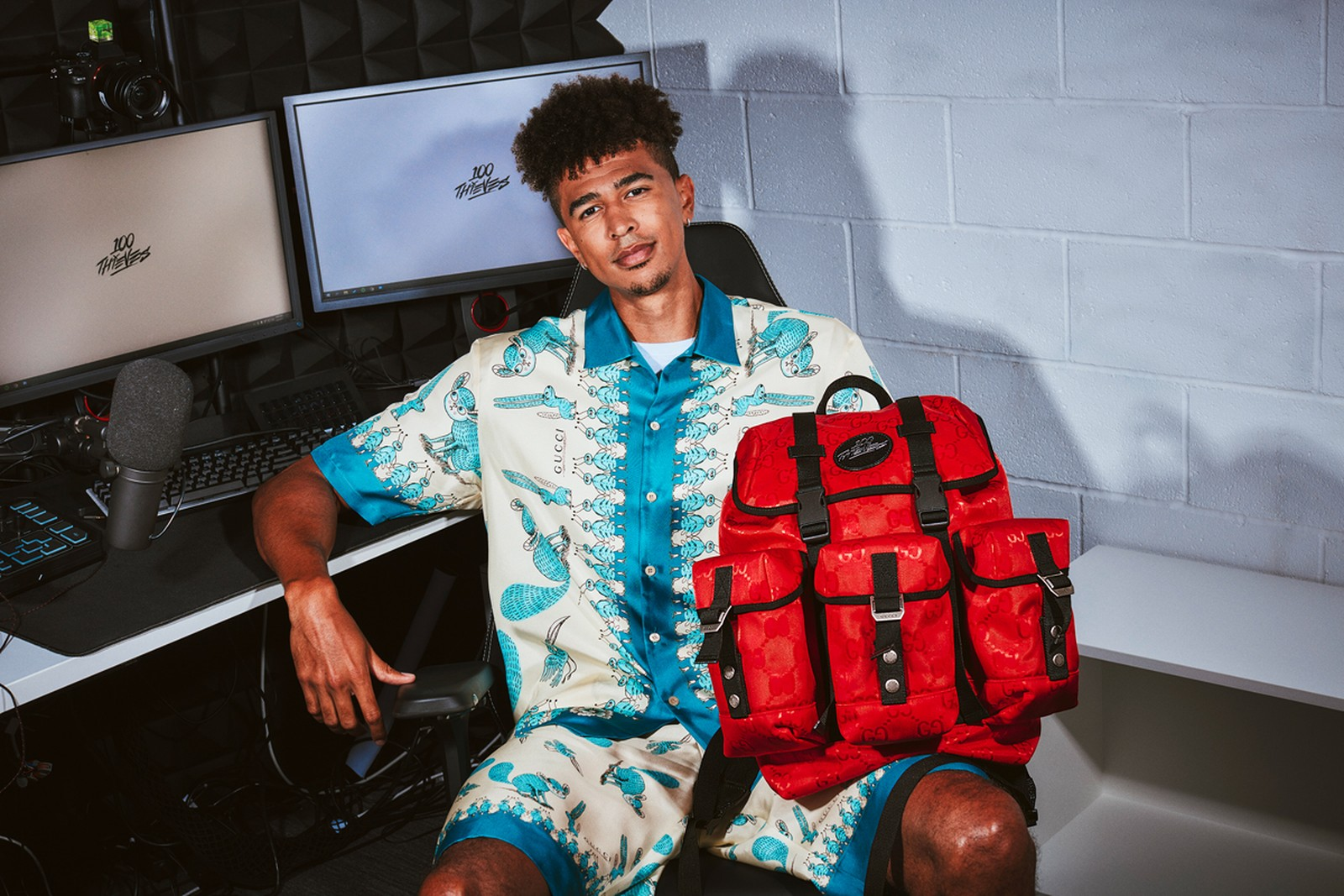 100 Thieves x Gucci backpacks (limited edition capsule)