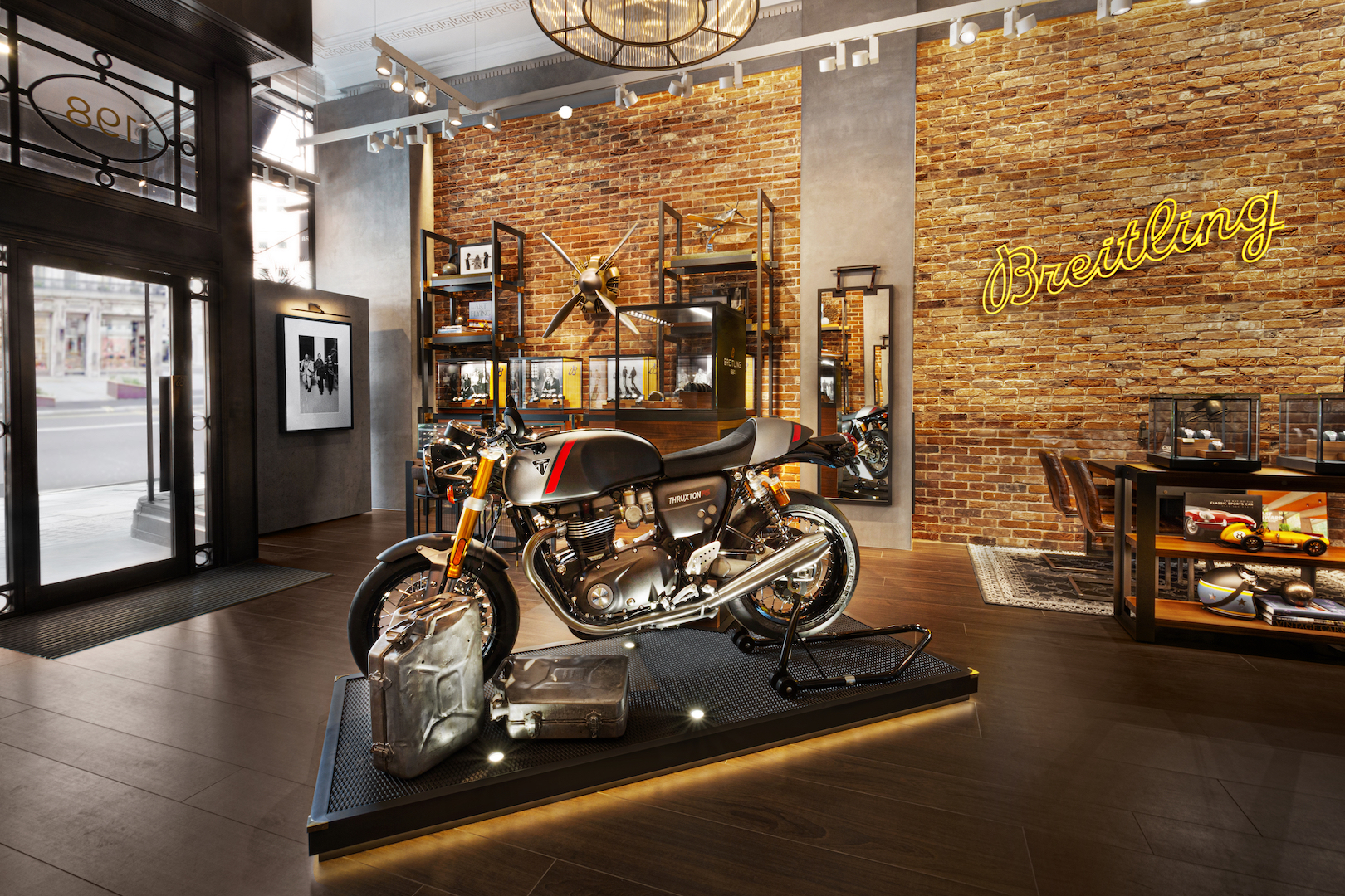 Breitling x Triumph motorcycle at the Breitling Townhouse in London