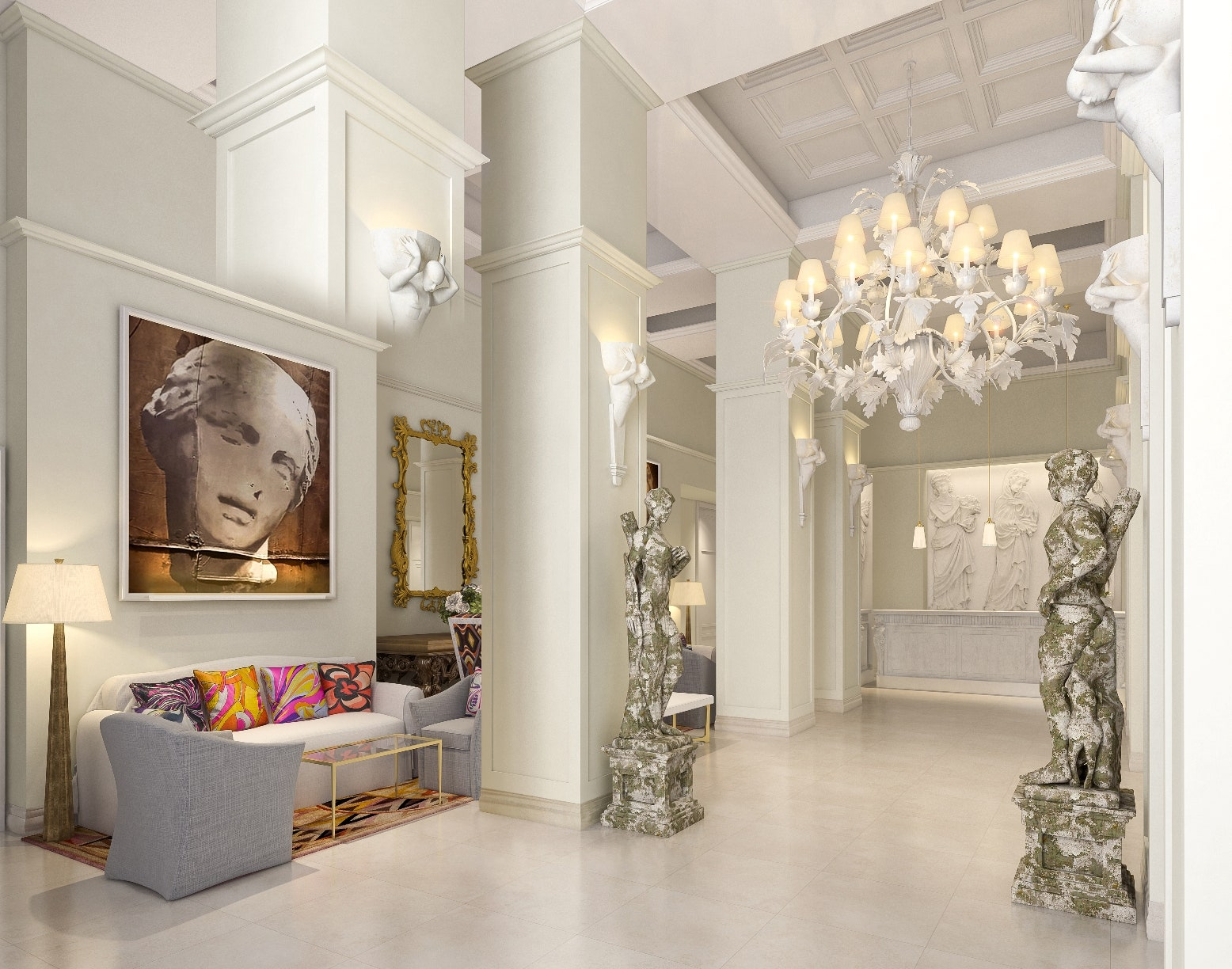 Hotel Savoy Rocco Forte, Florence - lobby designed by Laudomia PUCCI
